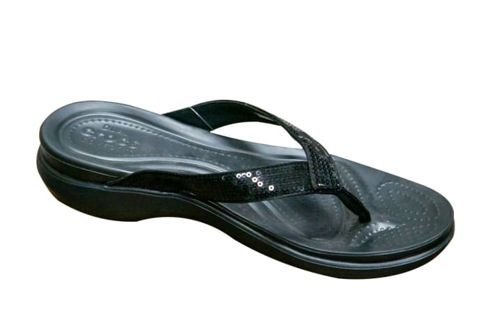 Crocs Ladies Crocband Black Flip Flops and House Slippers image