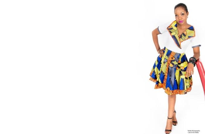Chitenge dress with white sailors top image