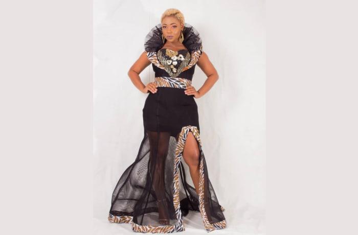 Chitenge lace black maxi dress image