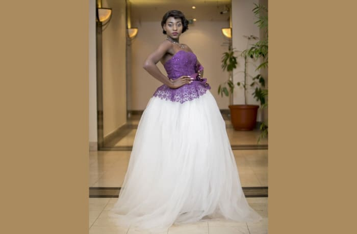 White gown wedding dress with purple laced sleeveless top image