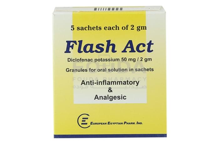 Flash Act  Diclofenac Potassium anti-Inflammatory & Analgesic  5 Sachets  image