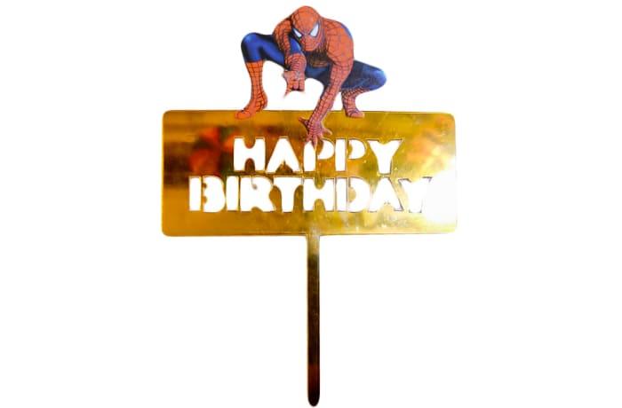 Happy Birthday Cake Topper  Mirror Gold Acrylic  Spiderman image