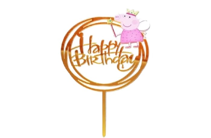 Happy Birthday Cake Topper  Mirror Gold Acrylic  Peppa Pig  image
