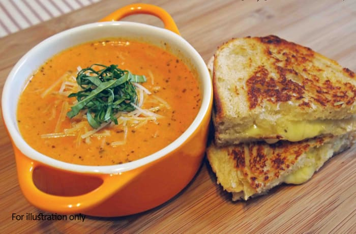 Starter Bits - Roasted Tomato & Basil Soup with Grilled Cheese Toastie - Vegetarian image