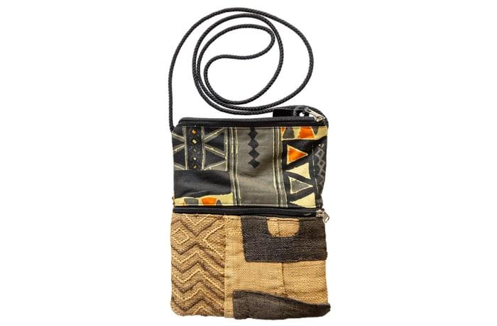 Sling Bags Kuba Fabric Patch Work of Cloth Zipped Pocket image