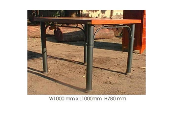 Dining table mock 4cm top 4 round steel legs image