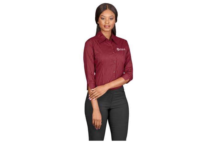 Ladies 3/4 Sleeve Manhattan Striped Shirt image
