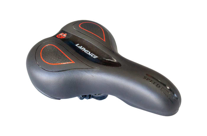 Bicycle Saddle Langsite Speed  - Black and Red Accent Mountain Bike  image