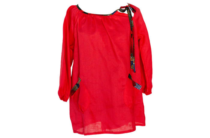 Linen Smock Top with Chitenge Accents Red  image