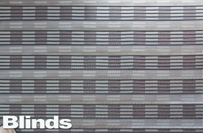 Blinds - blue grey lined and squares image