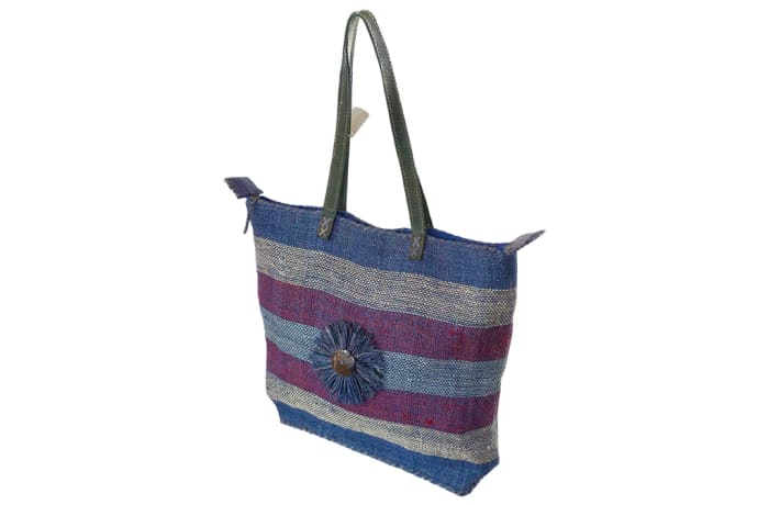 Shoulder Bag Malagash  with Bands of Blue Grey Purple  image