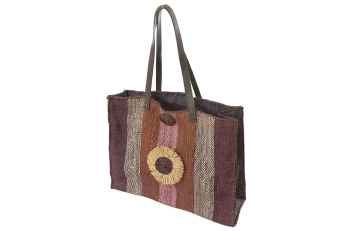 Shoulder Bag  Malagash  with Shades of Brown Grey Purple Bands image