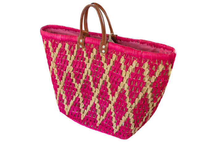 Tote Bag  Malagash  with Diamond Patterns in Pink image