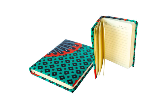 Notebook  Blue, Red Chitenge Material  Large Covered Notebook  image