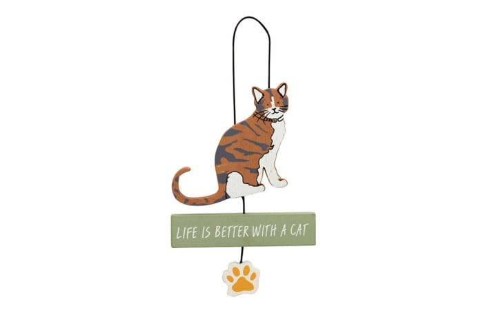 Paws For Thought Wooden Hanger Decor (Life Is Better With A Cat) image