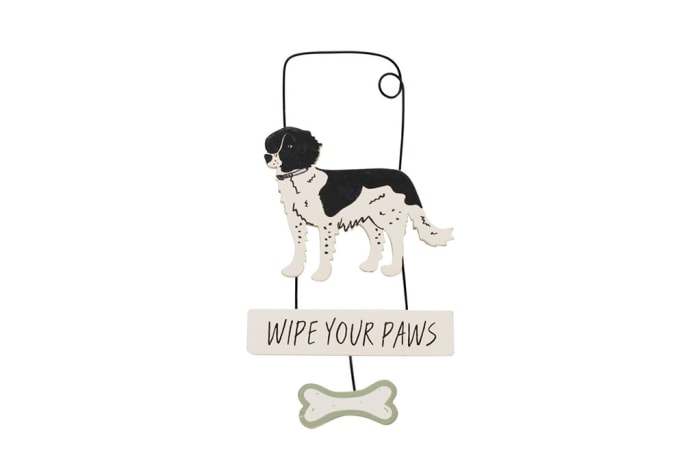 Paws For Thought Wooden Hanger Decor (Wipe Your Paws)  image