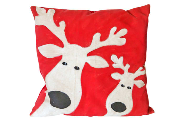 Pillow Christmas Themed Red Deer Head Cushion  image
