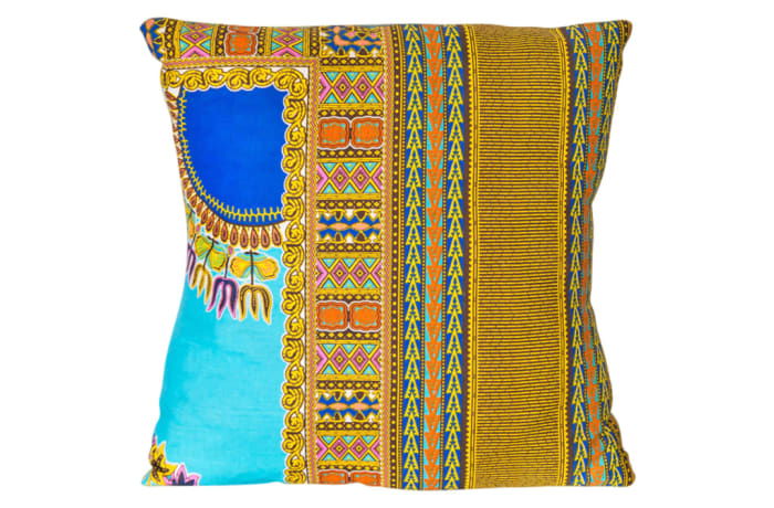 Pillow Sofa & Armchair Yellow and Blue Cotton Linen Cushion image