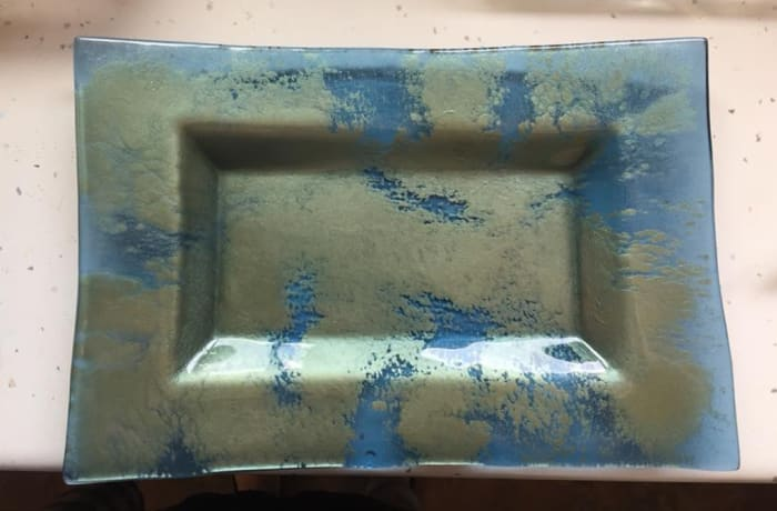 Rectangular bowl  with infused blue effects image