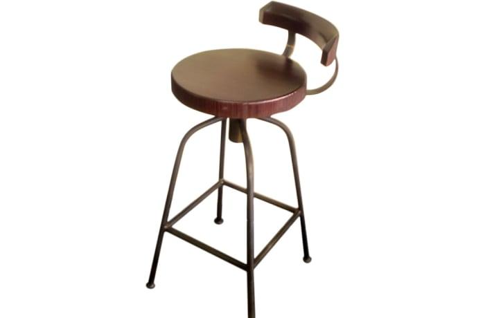 Round Teak Wood Swivel  Bar Stool image