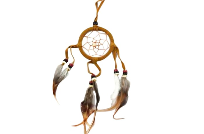 Wall Hanging  Dreamcatcher  Brown Triple Feather 6cm image