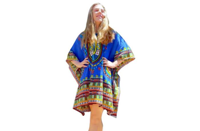 Kaftan Handcrafted Soft Rayon Blue  image
