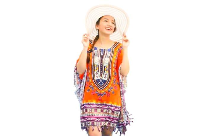 Kaftan Handcrafted Soft Rayon Orange  image