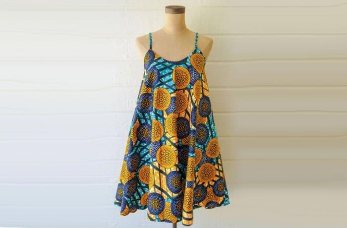 Short dress - African Chitenge print strap shift dress image