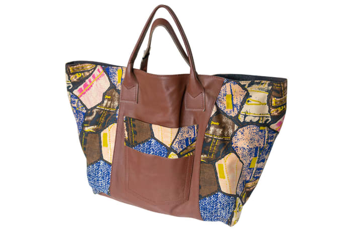 Shoulder Bag Leather & Denim Casual Leather & Chitenge Brown and Blue Patchwork   image