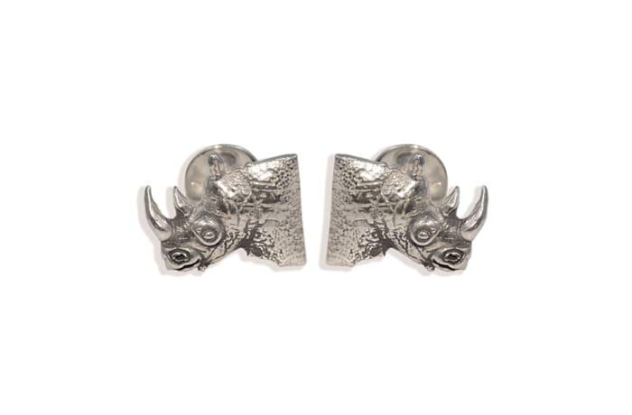Silver  Rhino Head Bullet  Cuff Links  image
