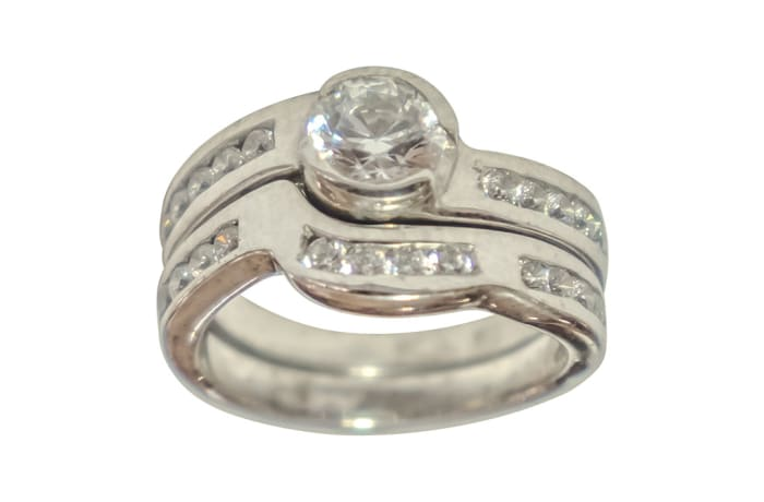 Silver Wedding Set Ring TRG-253 image