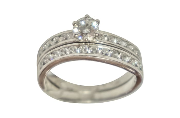 Double Channel Bridal Set Silver Ring image