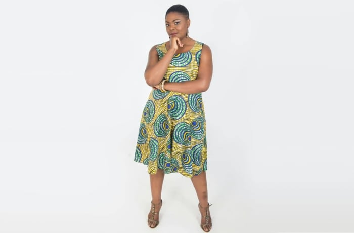 Simple sleeveless dress with African print image