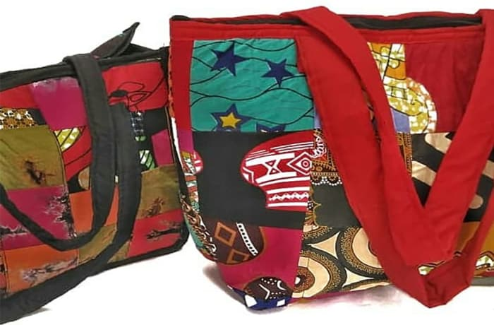 African patchwork cloth handbags image