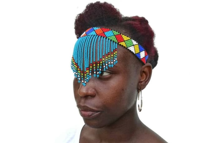 Beaded head band with bead strings image