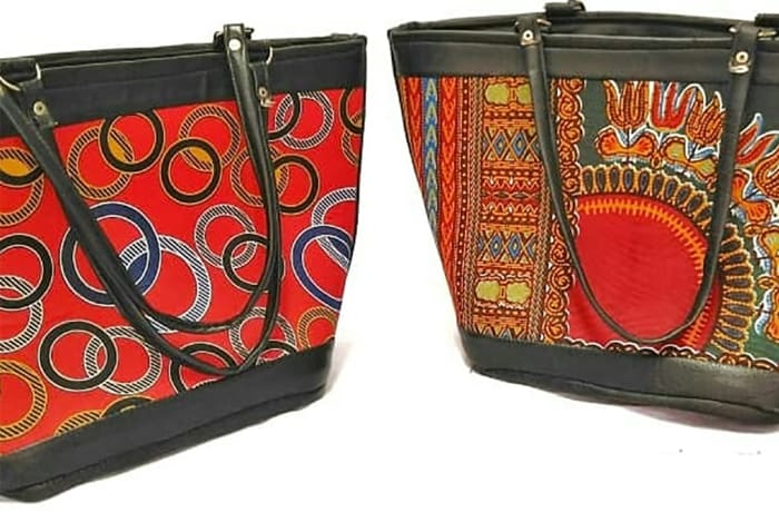 Leather & Ankara print shoulder handbags image