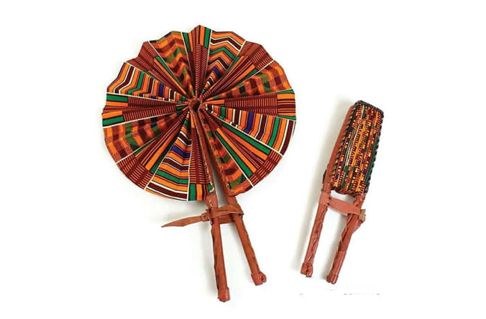 Foldable leather hand fans image