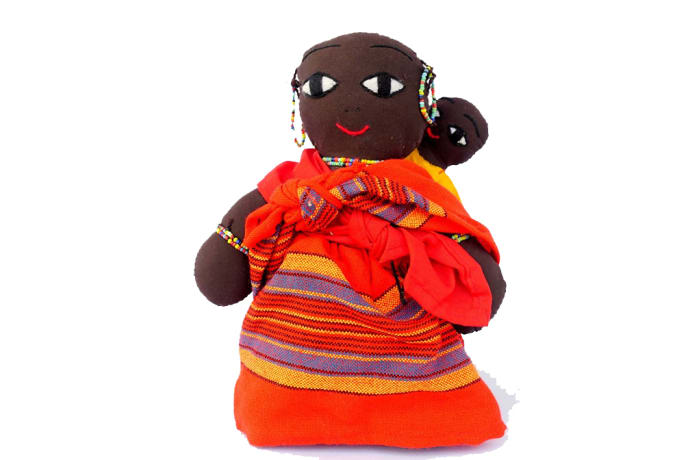 Stuffed Masai mother & child doll  image