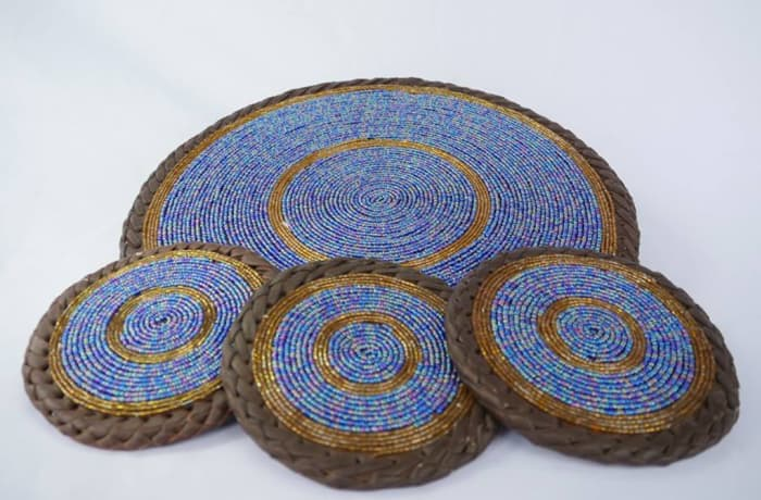 Beaded leather coasters image