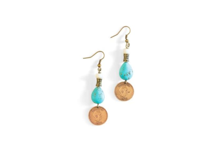 Turquoise & bronze earrings image