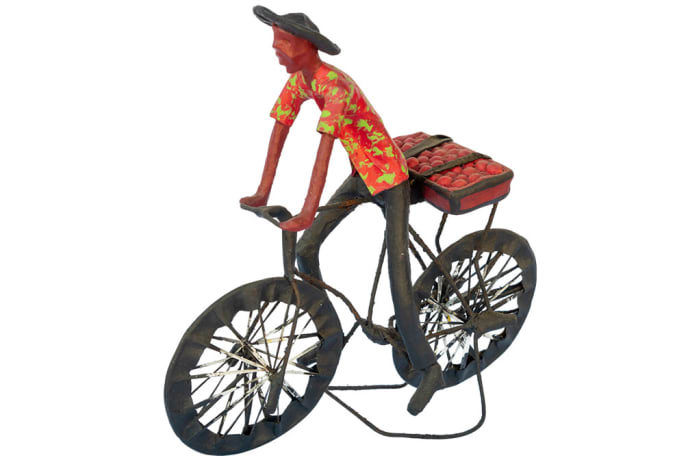 Toy Bicycle  Man Carrying  Tomatoes Sculpture image