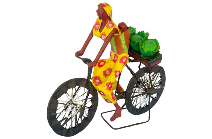 Toy Bicycles Woman & Baby  Carrying Cabbages  Sculpture image