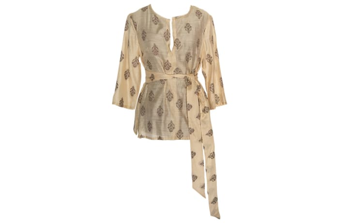 Women's Kaftan  Chitenge Top  Beige with Cluster Designs and a Matching Strap image