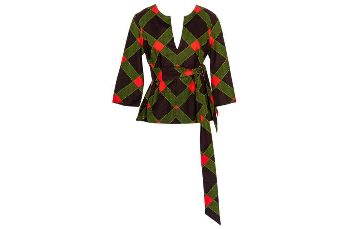 Women's  Kaftan  Chitenge Top  Black Green Orange with Matching Strap image