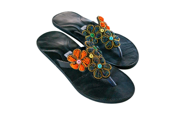 Tanzanian  Ladies Leather Slippers with Flowers & with Beads image