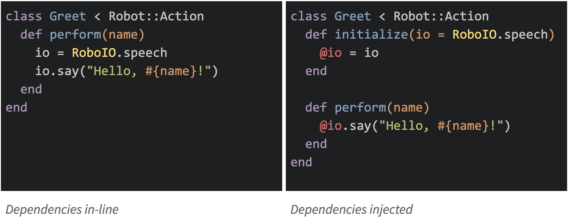code with dependencies injected as parameters to the initializer, or not