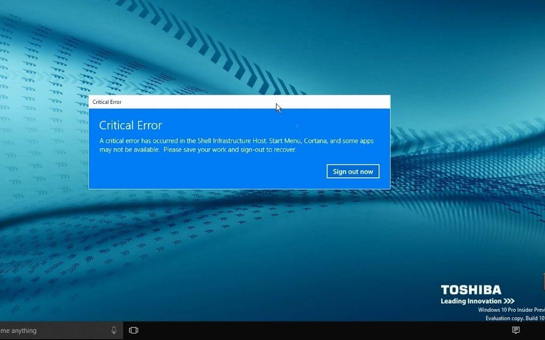 Διόρθωση του Critical Error – Start Menu and Cortana aren't working' Critical Error