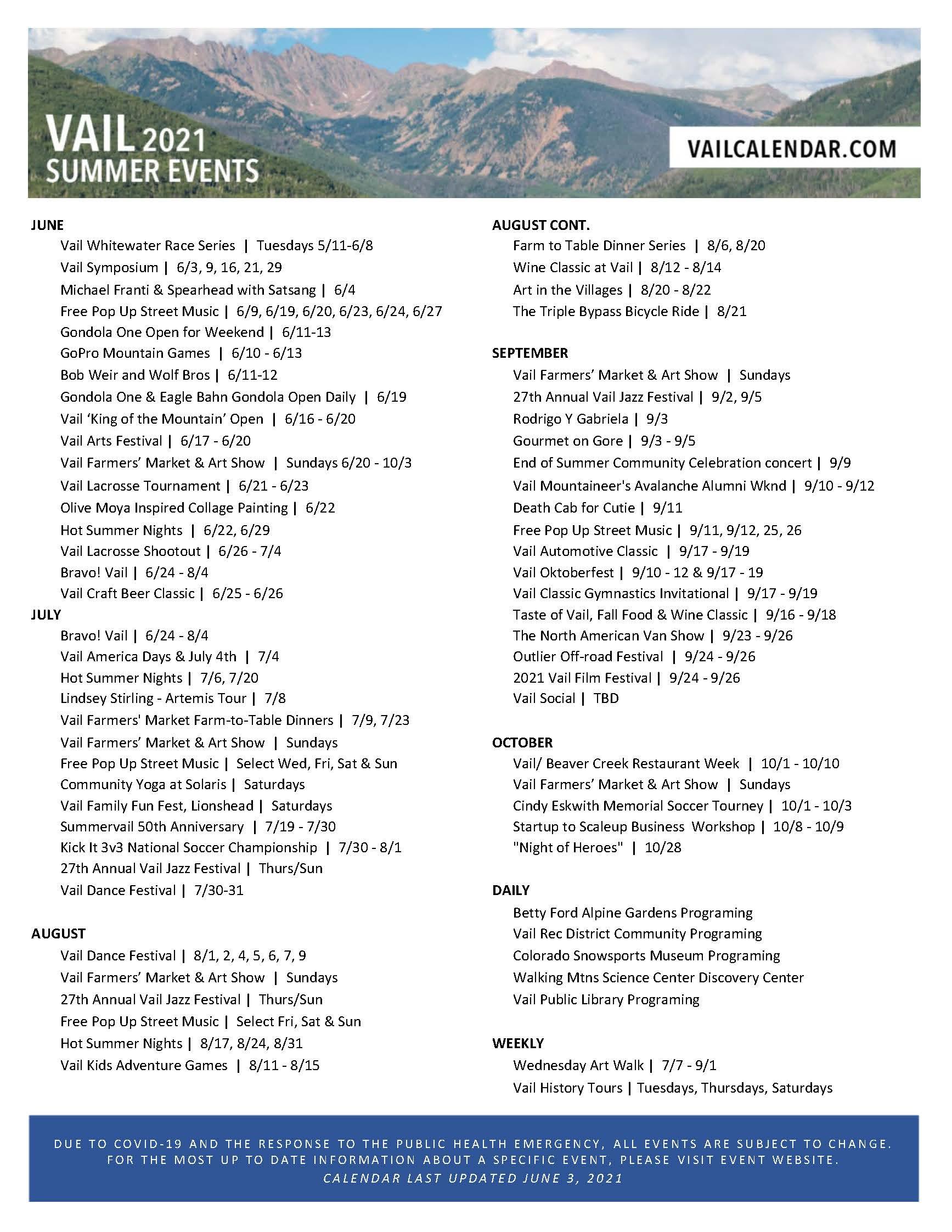 2021 Summer Event Calendar 6.3.21