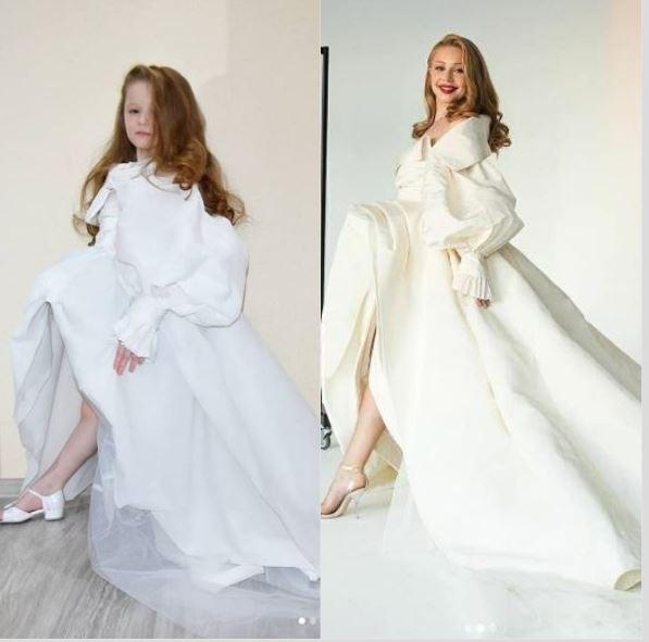 6-летняя девочка с мамой повторили платье Тины Кароль, сделав его из бумаги: