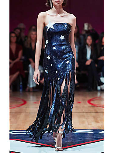 monse fringed sequined silk gown
